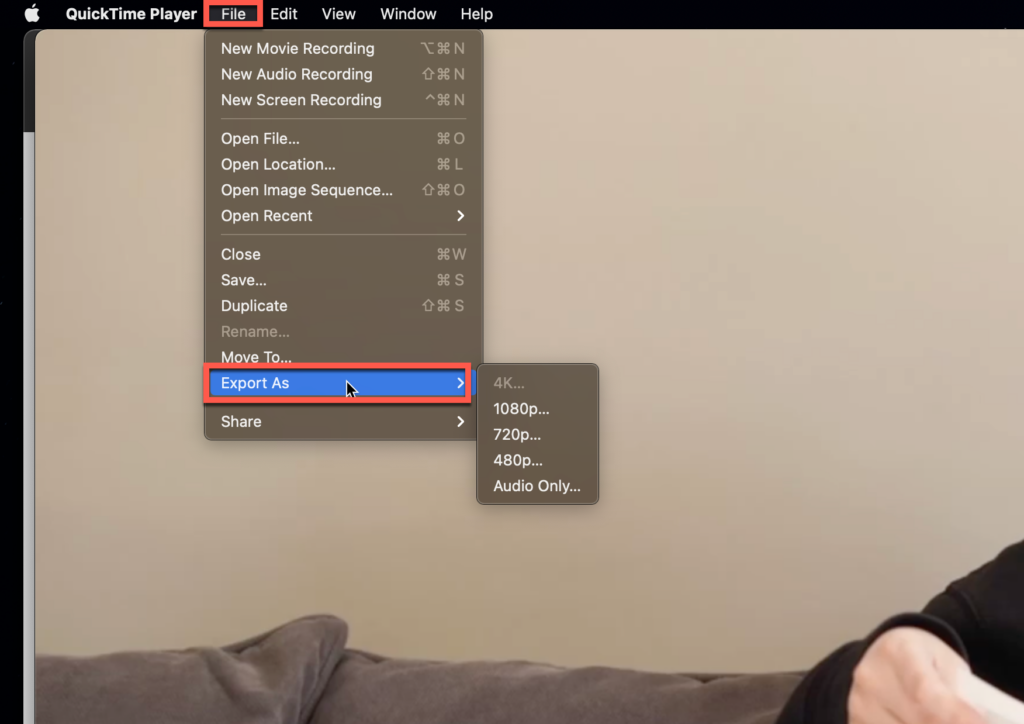 Exporting a video file in QuickTime Player for MacOS
