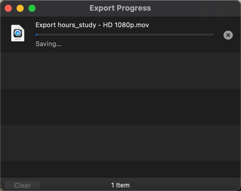 Exporting a video file in QuickTime Player
