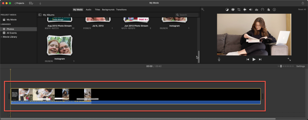 Click and drag your exported video clip into iMovie