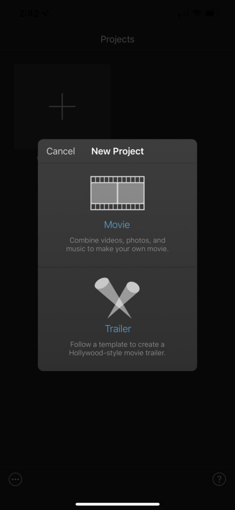 """Click in """"Movie"""" to create new movie project in iMovie for iPhone"""