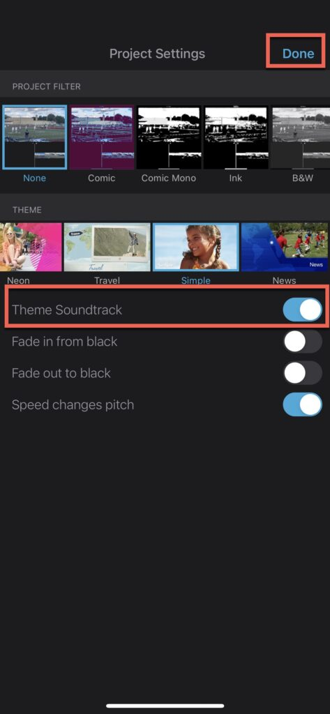 """Click """"Theme Soundtrack"""" to add pre-configured theme music to iMovie project on iPhone"""