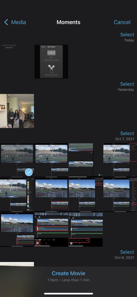 Adding clips and creating a project in iMovie for iPhone