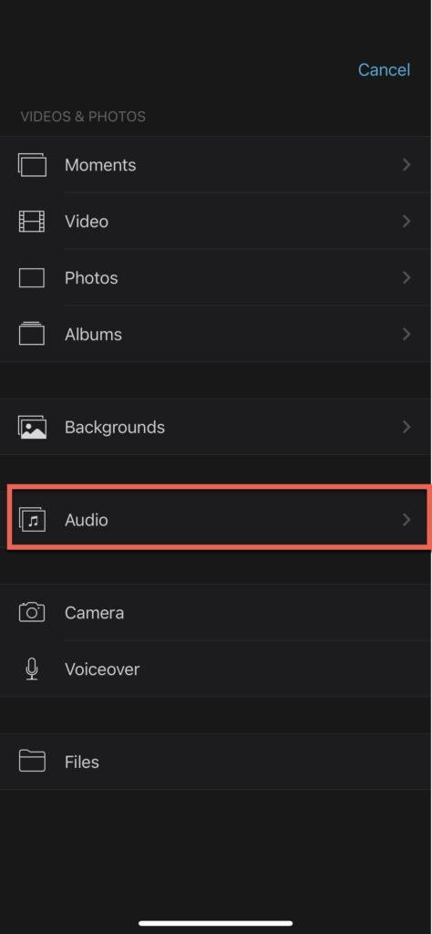 """Press """"Audio"""" to bring up the audio import options in iMovie for iPhone"""