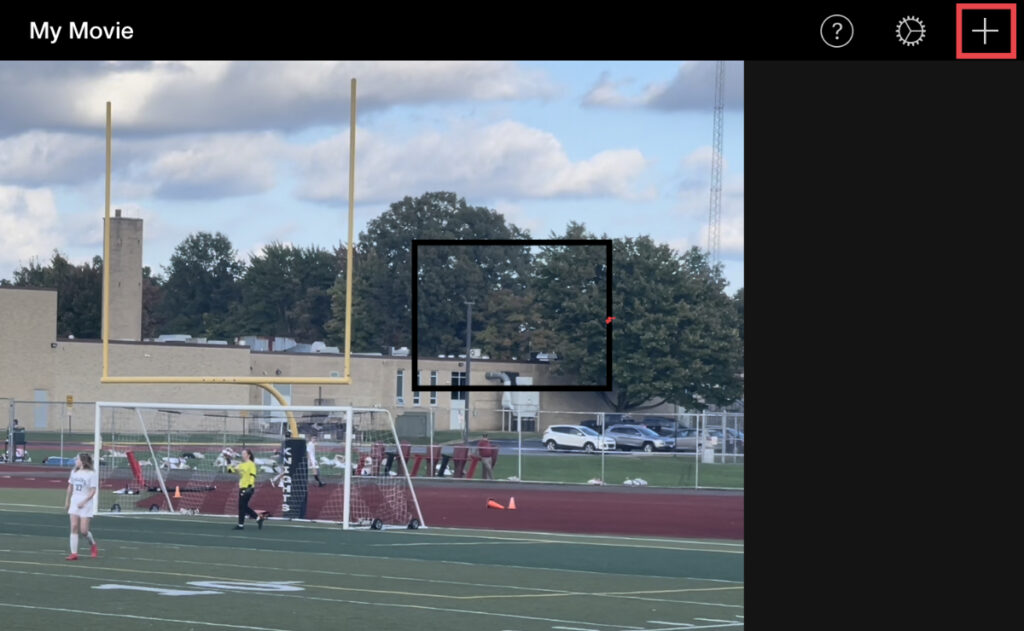 Click the plus (+) button to open up media options in iMovie for iOS