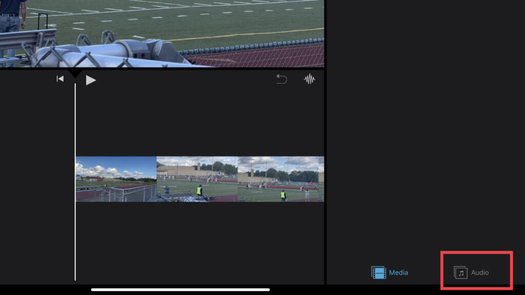 Audio tab option in iMovie for iOS