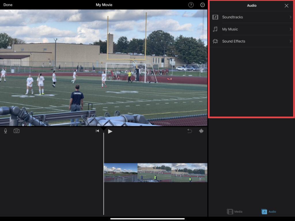 Audio options in iMovie for iOS