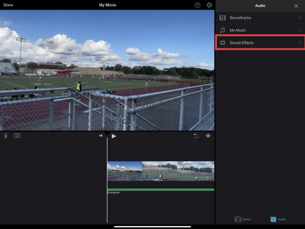Sound Effects option in iMovie for iOS