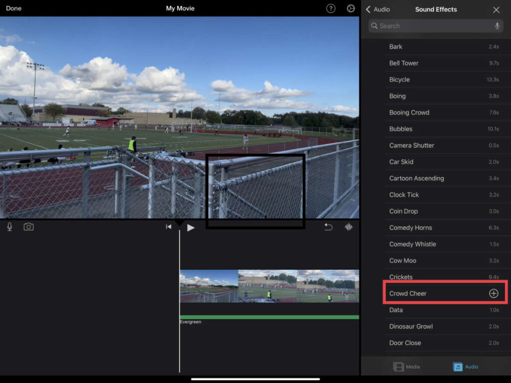 Adding a sound effect to a project in iMovie for iOS