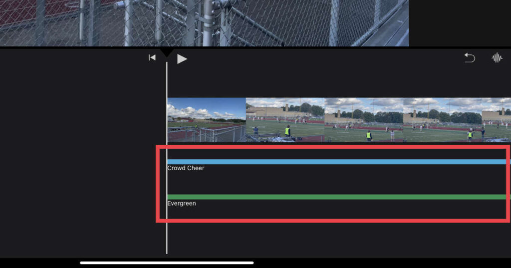 Two stacked audio files in iMovie for iOS