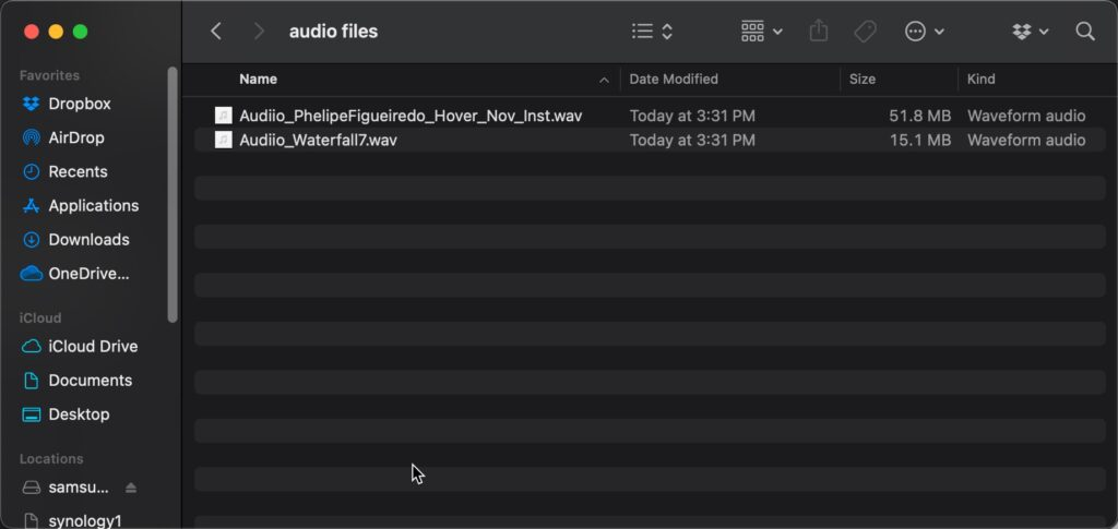 Audio files in Finder to add to iMovie