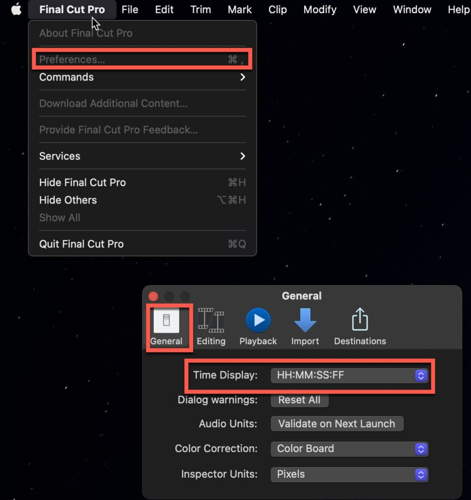 """The """"Time Display"""" option in Final Cut Pro"""