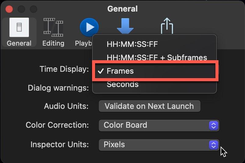 "Set ""Time Display"" Setting to ""Frames"""