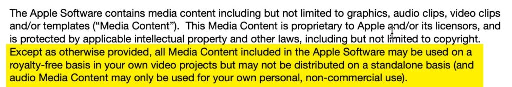 iMovie license text outlining use of iMovie music