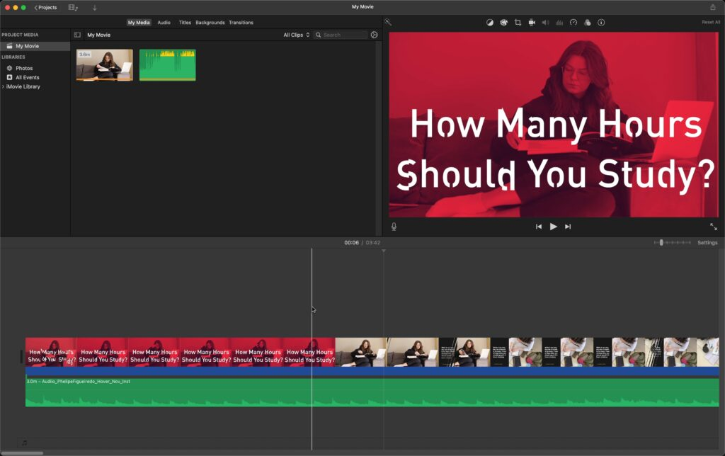 Your first audio file added to iMovie project