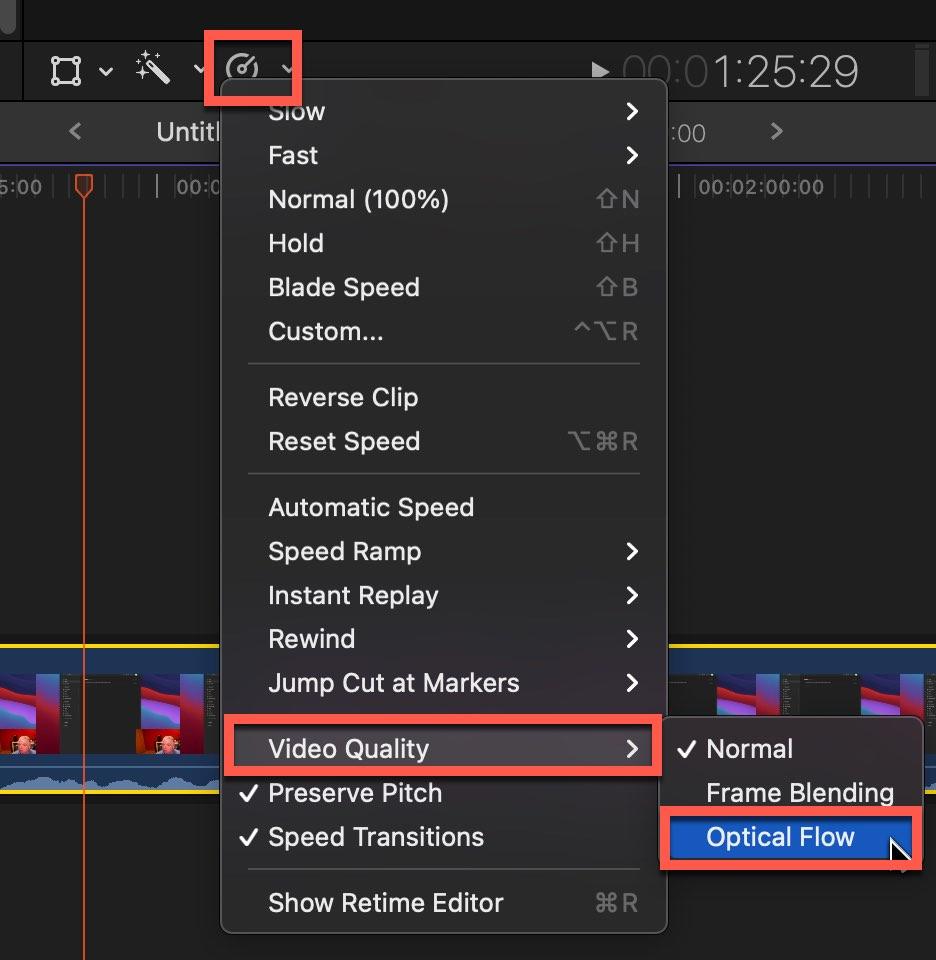 Optical Flow option in Final Cut Pro