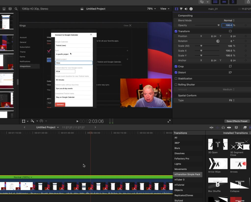 Selecting a video clip in Final Cut Pro