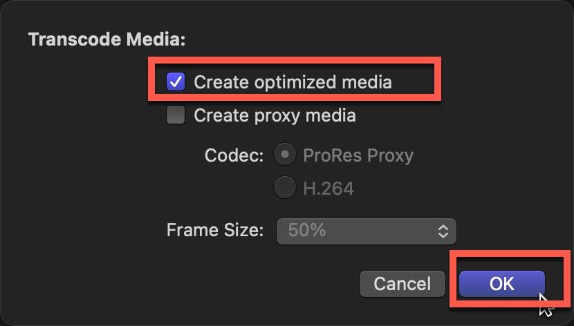 """Click the """"Create Optimized Media"""" checkbox"""