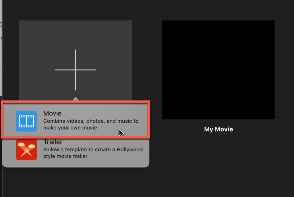 """Select """"Movie"""" to create a movie project in iMovie"""